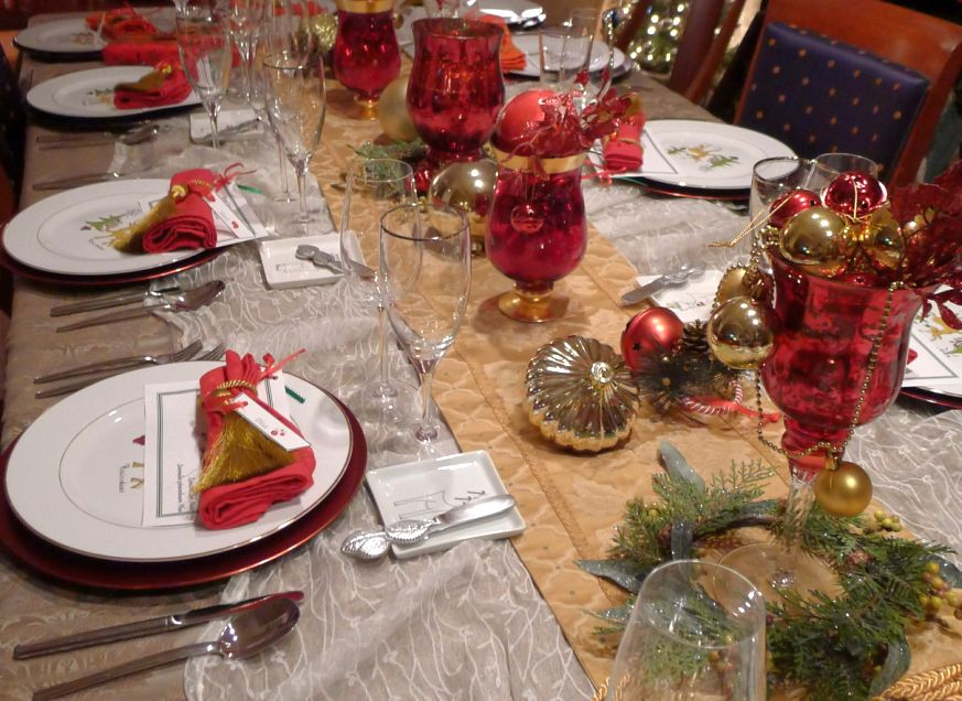I Wanted A Festive Setting So I Used Red Chargers For A Burst Of Color,  Christmas Plates, And Gold Tassels Are Used To Bundle The Napkins.